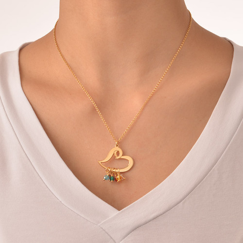Gold Plated Heart Necklace with Hanging Birthstones - 2