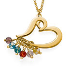 Gold Plated Heart Necklace with Hanging Birthstones