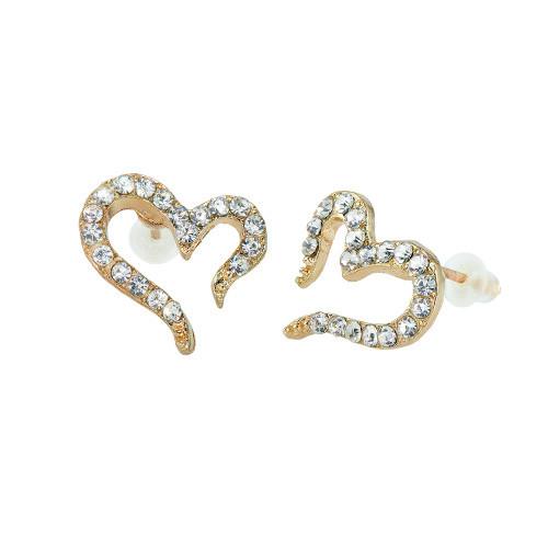 Gold Plated Heart Cubic Zirconia Stud Earrings