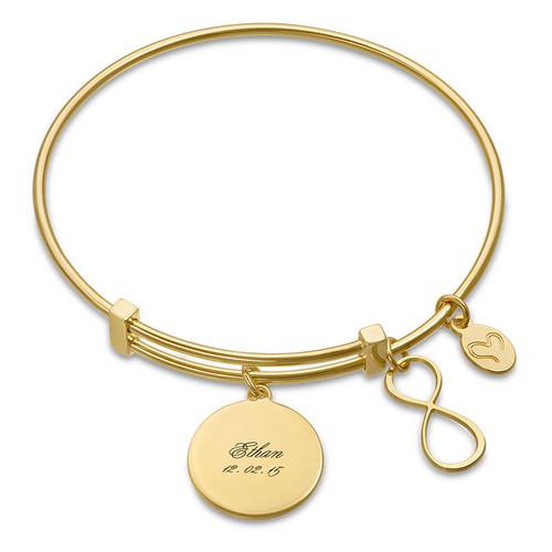 Gold Plated Infinity Charm Bangle Bracelet
