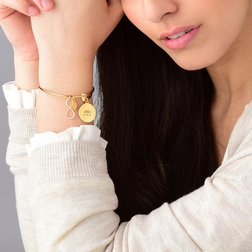 Gold Plated Infinity Charm Bangle Bracelet - 1