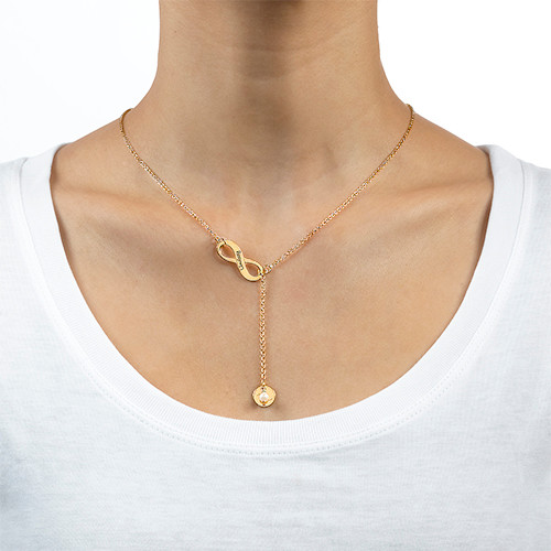 Gold Plated Infinity Y Shaped Birthstone Necklace - 1