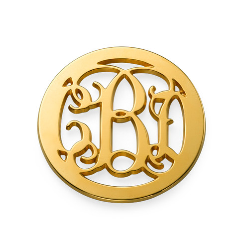 Gold Plated Monogram Coin - Cut Out Design