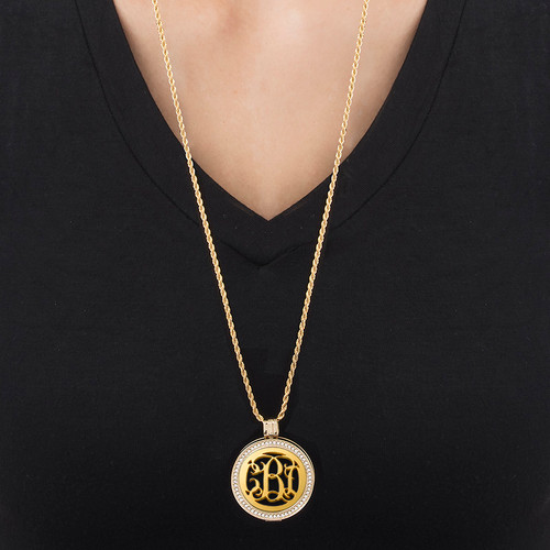 Gold Plated Monogram Coin - Cut Out Design - 1