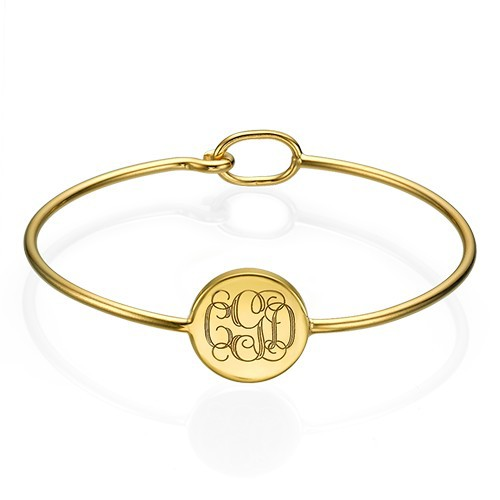 Gold Plated Round Monogram Bangle Bracelet