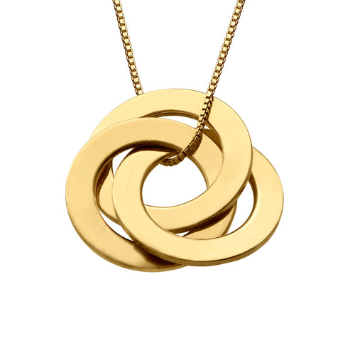 Gold Plated Russian Ring Necklace with 3 Rings