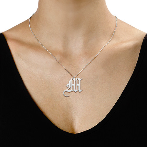 Gothic Initial Necklace - 1