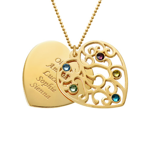 Grandma Family Tree Necklace with Birthstones  - Gold Plated