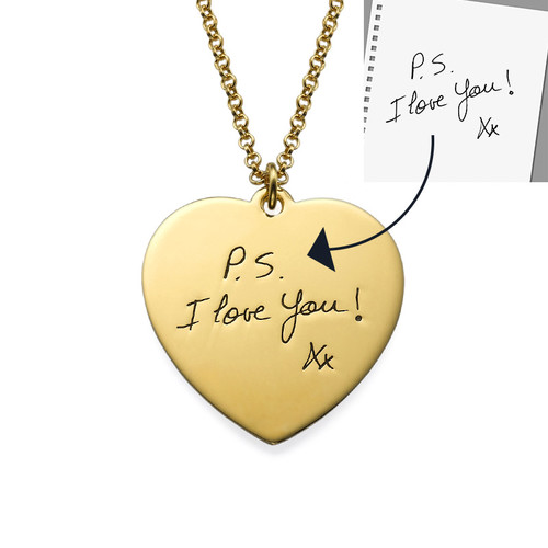 Handwriting Heart Necklace with Gold Plating - 1