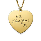 Handwriting Heart Necklace with Gold Plating