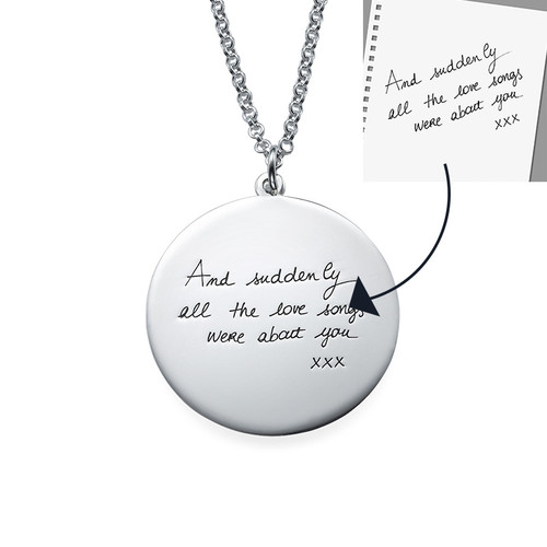 Handwriting Necklace - Disc Shaped - 1