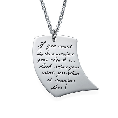 Handwriting Necklace - Note Shaped