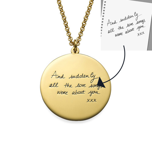 Handwriting Necklace with Gold Plating - Disc Shaped - 1