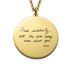 Handwriting Necklace with Gold Plating - Disc Shaped