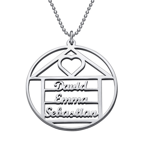 Happy Family Name Necklace - House Design