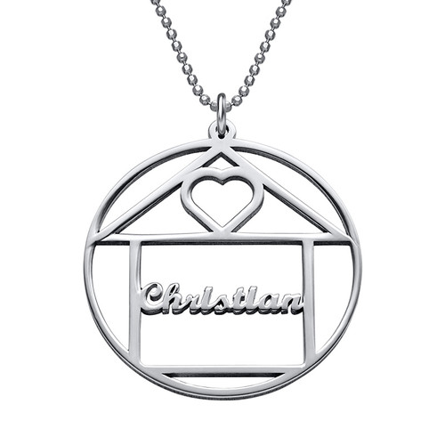 Happy Family Name Necklace - House Design - 1