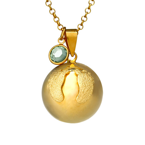 Harmony Ball Necklace with Baby Feet - Gold Plated