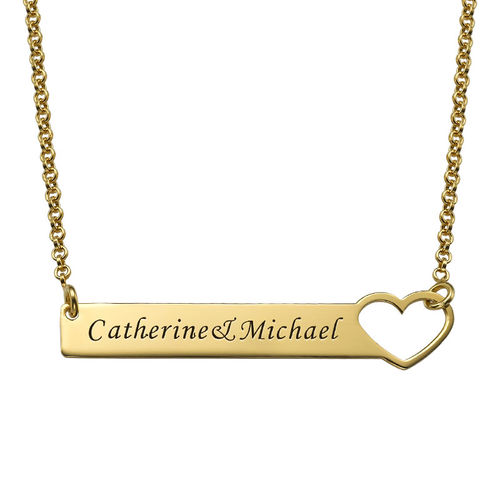 Heart Bar Necklace with Engraving - 18K Gold Plated - 1