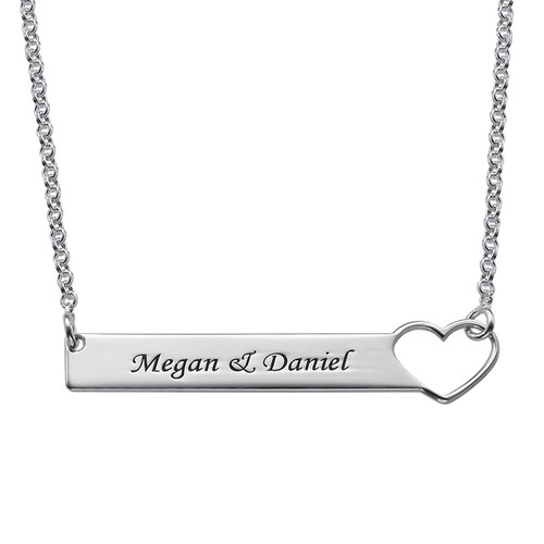 Heart Bar Necklace with Engraving - Sterling Silver