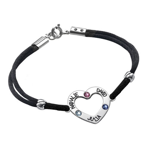 Heart Bracelet with Birthstones