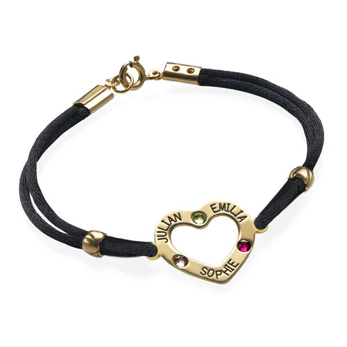 Heart Bracelet with Birthstones - 18K Gold Plating