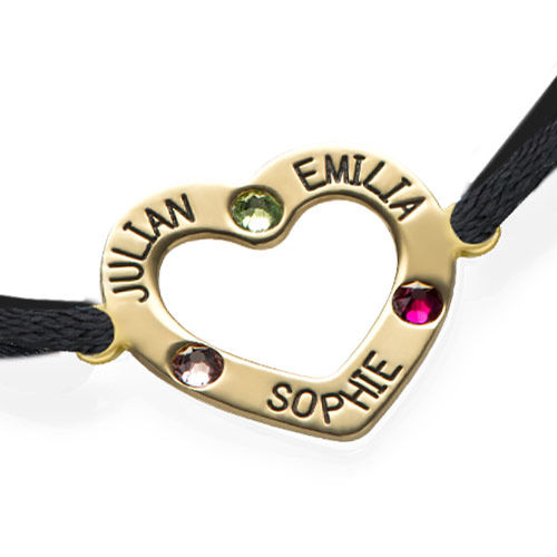 Heart Bracelet with Birthstones - 18K Gold Plating - 1