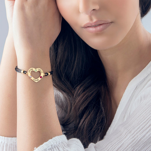 Heart Bracelet with Birthstones - 18K Gold Plating - 3