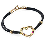 Heart Bracelet with Birthstones - 18K Gold Plating