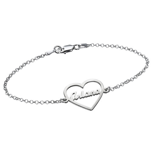 Heart Bracelet with Name in Silver