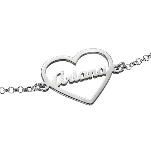 Heart Bracelet with Name in Silver - 1