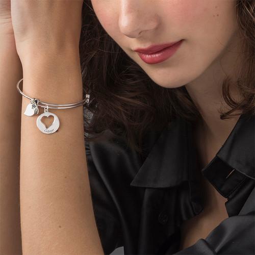 Heart Charm Bangle Bracelet - 1