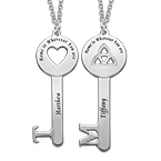 Heart & Clover Personalized Key Necklace Set