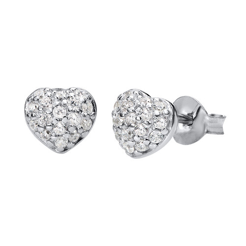 Heart Earrings in Silver & Cubic Zirconia