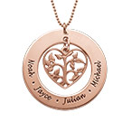 Heart Family Tree Necklace in 18k Rose Gold Plating