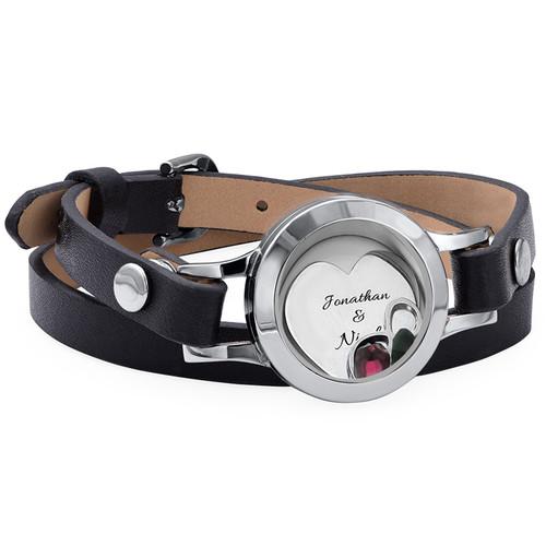 Heart & Infinity Floating Locket Leather Bracelet