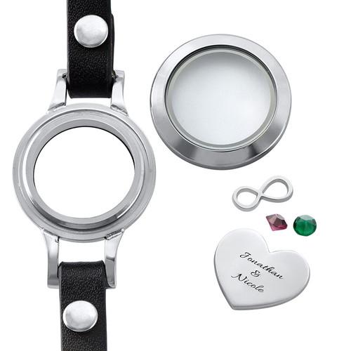 Heart & Infinity Floating Locket Leather Bracelet - 1