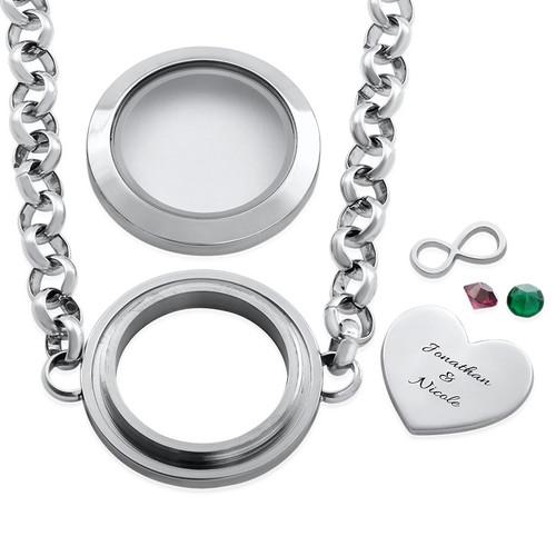 Heart & Infinity Floating Locket Stainless Steel Bracelet - 1
