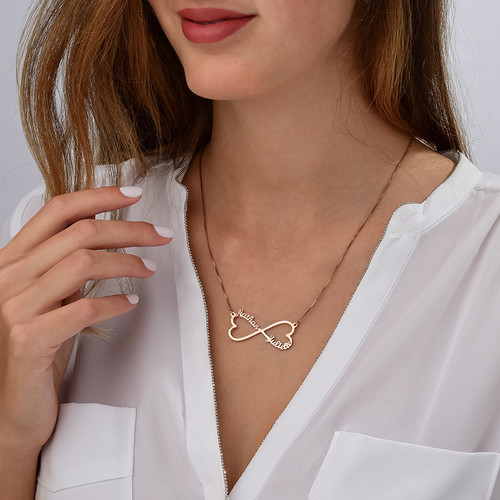 Heart Infinity Name Necklace Rose Gold Plated