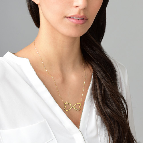 Heart Infinity Name Necklace - 14K Gold - 1