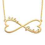 Heart Infinity Name Necklace with Gold Plating