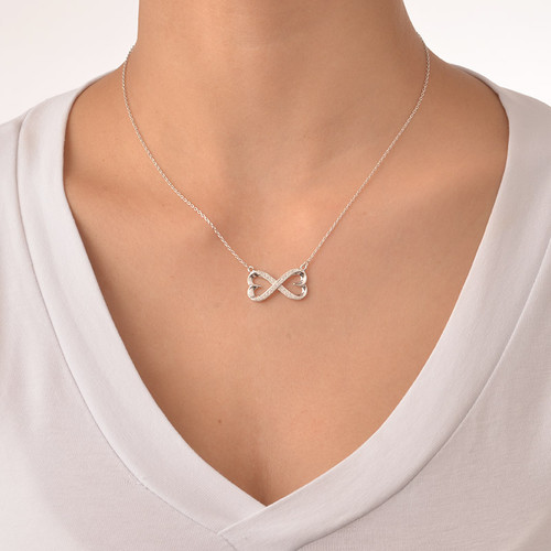 Heart Infinity Necklace with Cubic Zirconia - 1