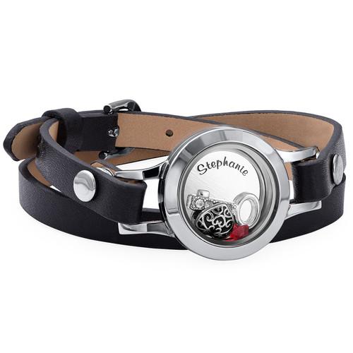 Heart & Key Floating Locket Leather Bracelet