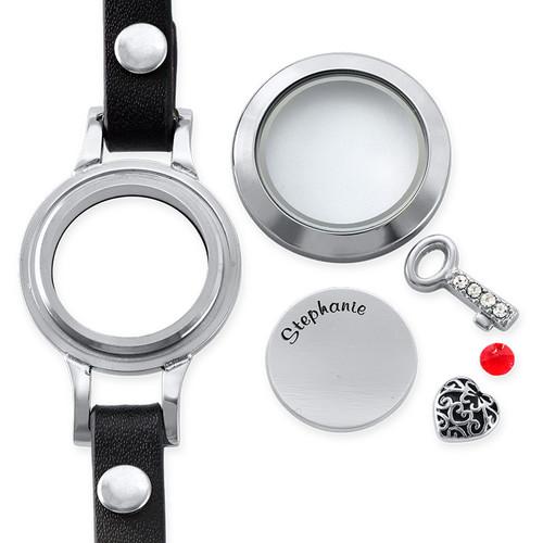 Heart & Key Floating Locket Leather Bracelet - 1