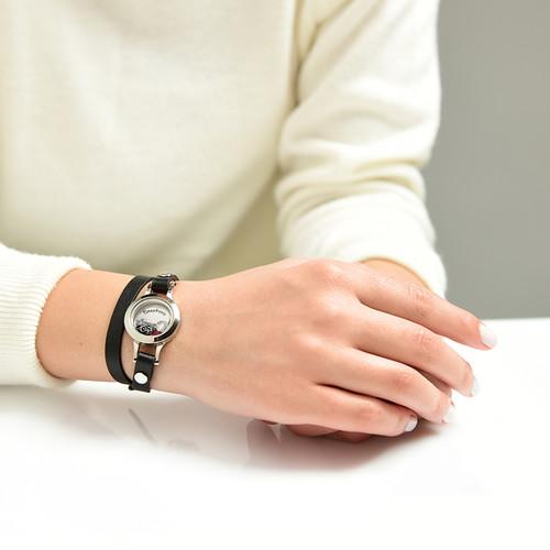 Heart & Key Floating Locket Leather Bracelet - 3