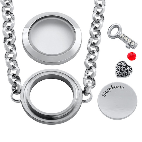 Heart & Key Floating Locket Stainless Steel Bracelet - 1
