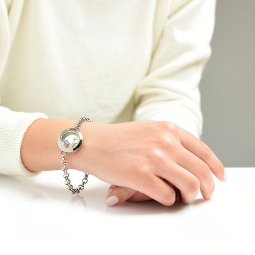 Heart & Key Floating Locket Stainless Steel Bracelet - 3