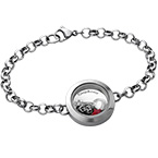 Heart & Key Floating Locket Stainless Steel Bracelet