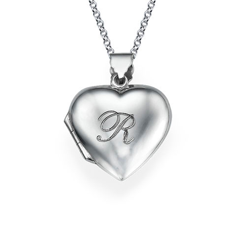 Heart Locket with Engraved Initial in Silver