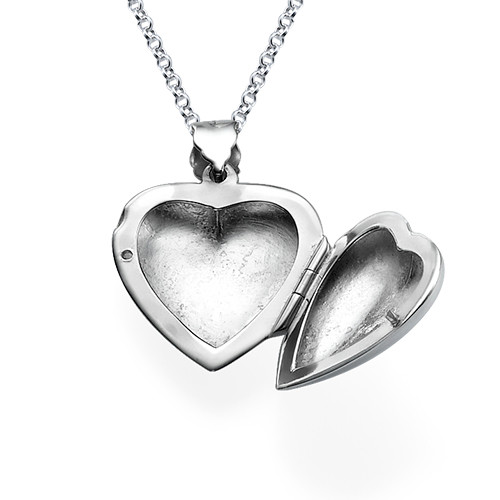 Heart Locket with Engraved Initial in Silver - 1