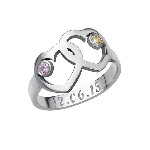 Heart Mother's Ring with Birthstones